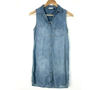 SO Heritage Denim Chambray Dress Button Sleeveless